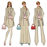 Three trendy girls.Fashion Illustration Royalty Free Stock Image