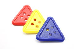 Three Triangle Buttons Stock Images