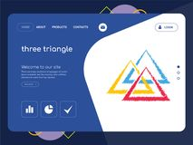 Three triangle Landing page website template design. Quality One Page three triangle Website Template Vector Eps, Modern Web Design with flat UI elements and Royalty Free Stock Image