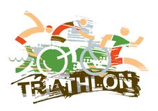 Triathlon race expressive stylized. Three triathlon athletes on the grunge background with inscription triathlon. Vector available Royalty Free Stock Images