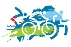 Triathlon race grunge stylized. Three triathlon athletes on the grunge background. Vector available Royalty Free Stock Images