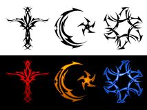Three tribal religious symbols Stock Images