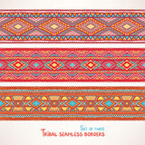 Three tribal seamless borders Royalty Free Stock Photography