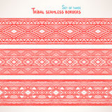 Three tribal seamless borders - 2 Stock Photo