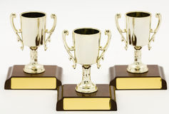 Three trophies, first second and third Royalty Free Stock Photo