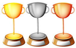 Three trophies Royalty Free Stock Photos