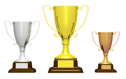 Three trophies on white background Royalty Free Stock Image
