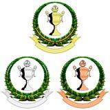 Three trophy cup emblem Stock Image
