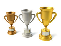 Three trophy cups Royalty Free Stock Photo