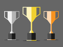 Three trophy cups Royalty Free Stock Image