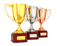 Three trophy cups in a row Royalty Free Stock Photography