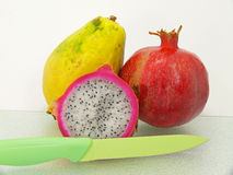 Three tropic fruits Stock Images