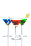 Three tropical Martini Cocktails drink Royalty Free Stock Image