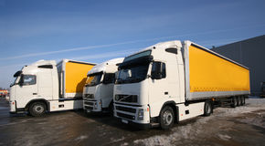 Three trucks. Three yellow trucks on the parking Royalty Free Stock Images