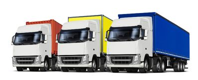 Three trucks with various trailers Stock Photo