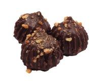 Three truffle cakes isolated white Stock Photo