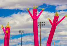 Three Tube Air Puppets/Dancers. Tube Air Dancers/Puppets Against Blue Sky stock images