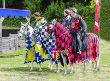 Three Tudor Knights on Horses Royalty Free Stock Images