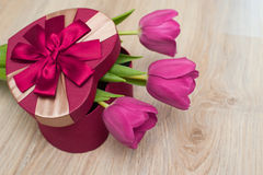 Three tulip and red box for gift in form of heart Royalty Free Stock Photo