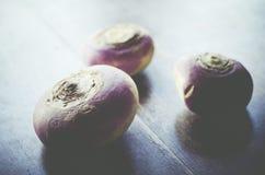 Three turnip on a wood background Stock Photo