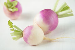 Three turnips with purple skin Stock Photography