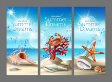 Three turquoise backgrounds with summer sandy beach, seashells, pebbles, starfish, crab and coral. Three illustration of a summer sandy beach with seashells Stock Image