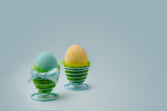 Three turquoise eggs. Easter decoration, three turquoise eggs Stock Photography