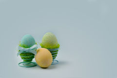 Three turquoise eggs. Easter decoration, three turquoise eggs Stock Photos