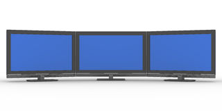 Three TV on white background Royalty Free Stock Images