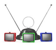 Three TVs and an antenna Stock Photo