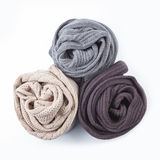 Three twisted female scarf isolated on white Royalty Free Stock Photos