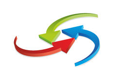 Three twisting arrows Stock Image