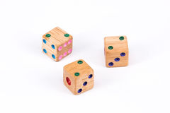 Three two point face wood dices Royalty Free Stock Images