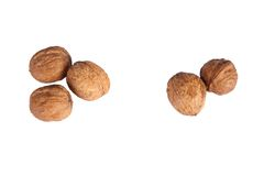 Three and two walnut Isolated. On white background Royalty Free Stock Photography