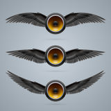 Three two-winged music speakers Stock Images