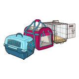 Three type of pet carrier, transport bag, plastic case, metal Stock Images