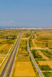 Three type of roads. Aerial shot of highway near Zadar, Croatia. Three type of roads paralel to each other Royalty Free Stock Photography