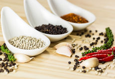 Three type of spices and herb on the cup on wood background,sele Stock Photography