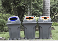 Three type of trash bin,Recycle Stock Photos