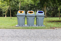 Three type of trash bin,Recycle in the park Royalty Free Stock Photos