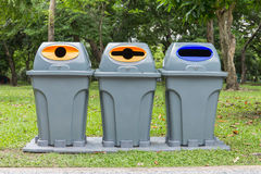 Three type of trash bin,Recycle in the park Stock Image