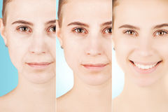 Three types of age changes on blond woman`s face stock images