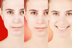 Three types of age changes on blond woman`s face royalty free stock image