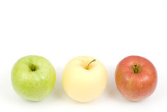 Three types apple. On a white background royalty free stock photography