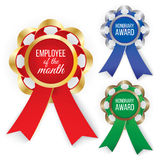 Three types of awards: Gold, silver and bronze. Vector illustration. Vector illustration Royalty Free Stock Photography