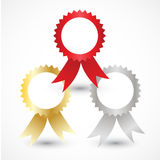 Three types of awards: Gold, silver and bronze. Vector illustration. Vector illustration Stock Images