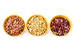 Three types of beans Stock Images