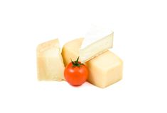 Three types of cheese and cherry tomato. Isolated over white background Royalty Free Stock Images