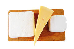 Three types of cheeses Royalty Free Stock Photo