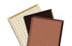 Three types chocolate stock photo